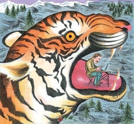 儿童彩铅画老虎步骤