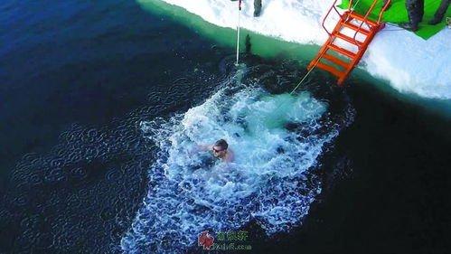 在北极冰泳